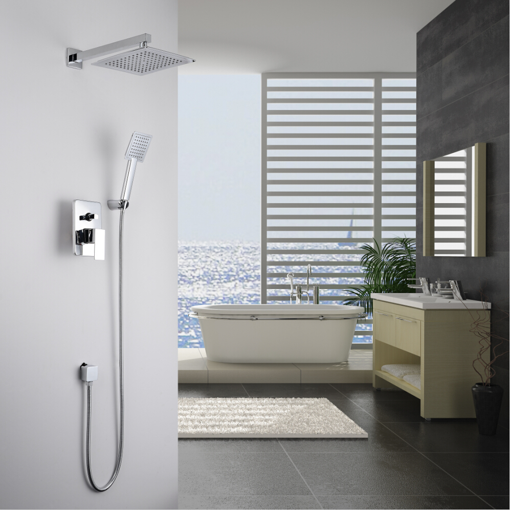 KiarRog Bathroom shower set. Concealed shower faucet. 250 MM (10 inch) rainfall shower head. All the accessories. sognare new wall mounted bathroom bath shower faucet with handheld shower head chrome finish shower faucet set mixer tap d5205