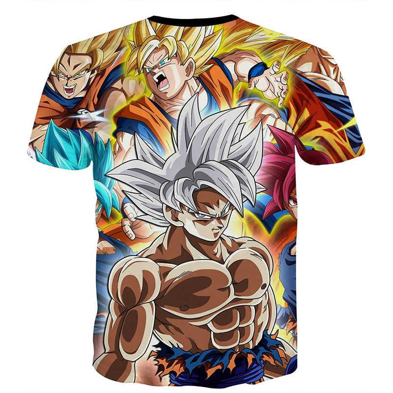 Dragon Ball Z Ultra Instinct God Son Goku Super Saiyan Мужская футболка с 3D принтом, летняя повседневная забавная футболка с круглым вырезом, большие размеры