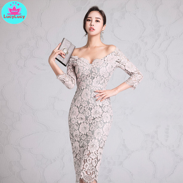 Women's 2019 Korean version of the new ladies temperament word collar low-cut lace seven-point sleeves hip dress