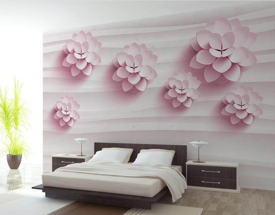 Behang Kinderkamer Roze : Custom 3d muurschilderingen 3d stereo warm roze bloemen behang