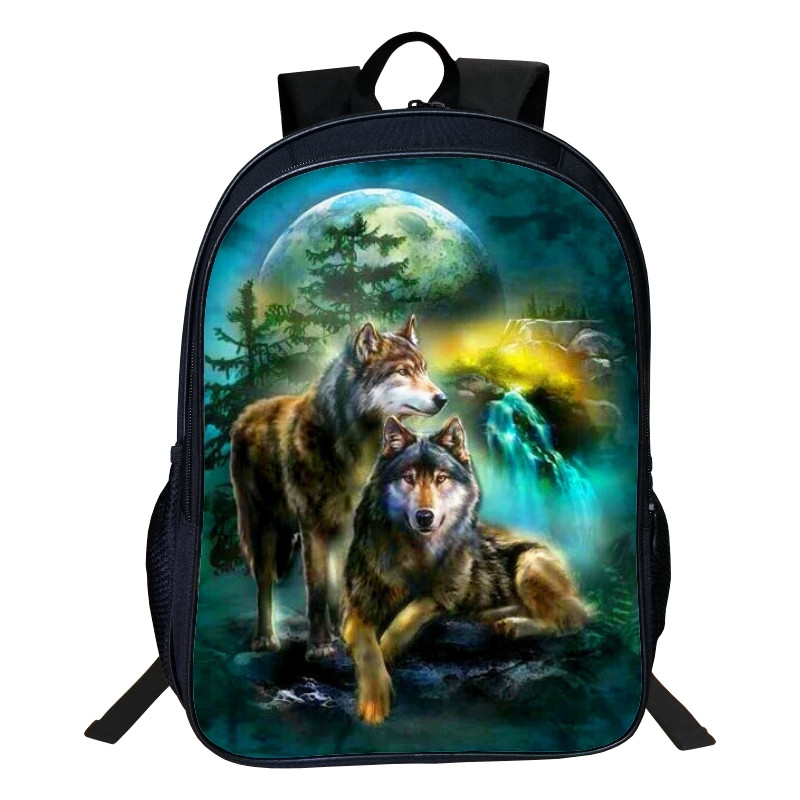 2017 New Arrivals Polyester 16-inches Printing European Style Animal Wolf Boys School Bags For Tennagers Girls School Backpacks