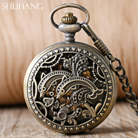 SHUHANG Cute Dolphins Retro Antique Mechanical Pocket Watch With Fob Chain Hand Winding Watches Male Female