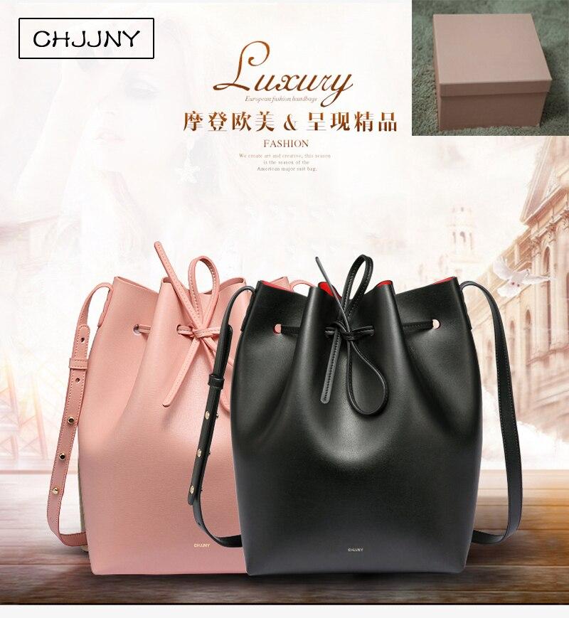 Chjjny célèbre seau véritable bandoulière en cuir marque bandoulière sac femmes cordon designer Rachel Mansur avec l'original logo boîte