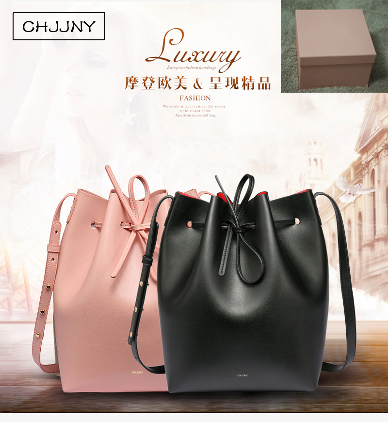 chjjny famous bucket genuine pigskin leather shoulder real brand crossbody bag women drawstring designer Rachel Mansur with box chjjny mansur designer gavriel with original logo dust bags bucket bag leather women brand drawstring school bags for teenagers