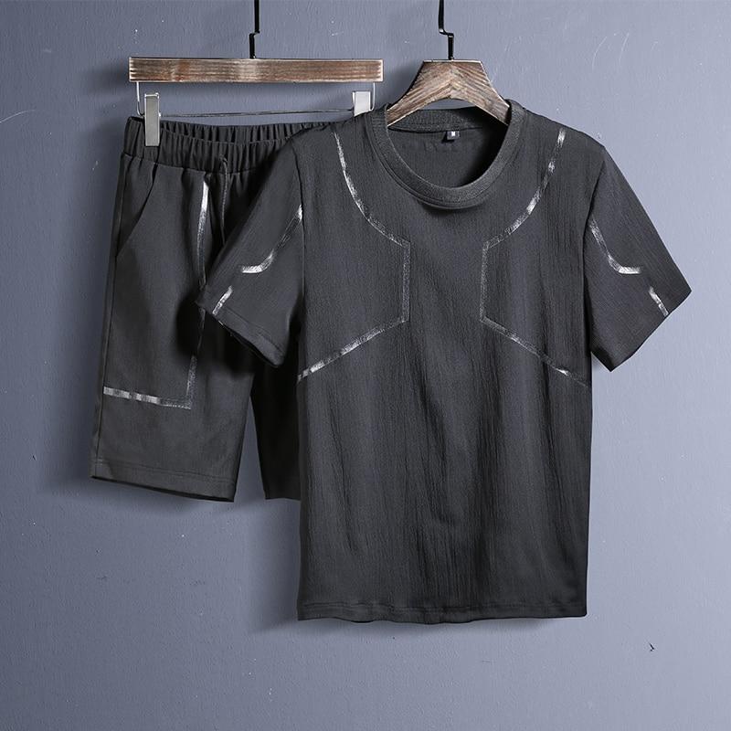 Automne Nouveau Hommes Top Qualité Coton Imprimer Survêtements Long Pantalon + Sweat-Shirts Décontractés Hommes Costumes
