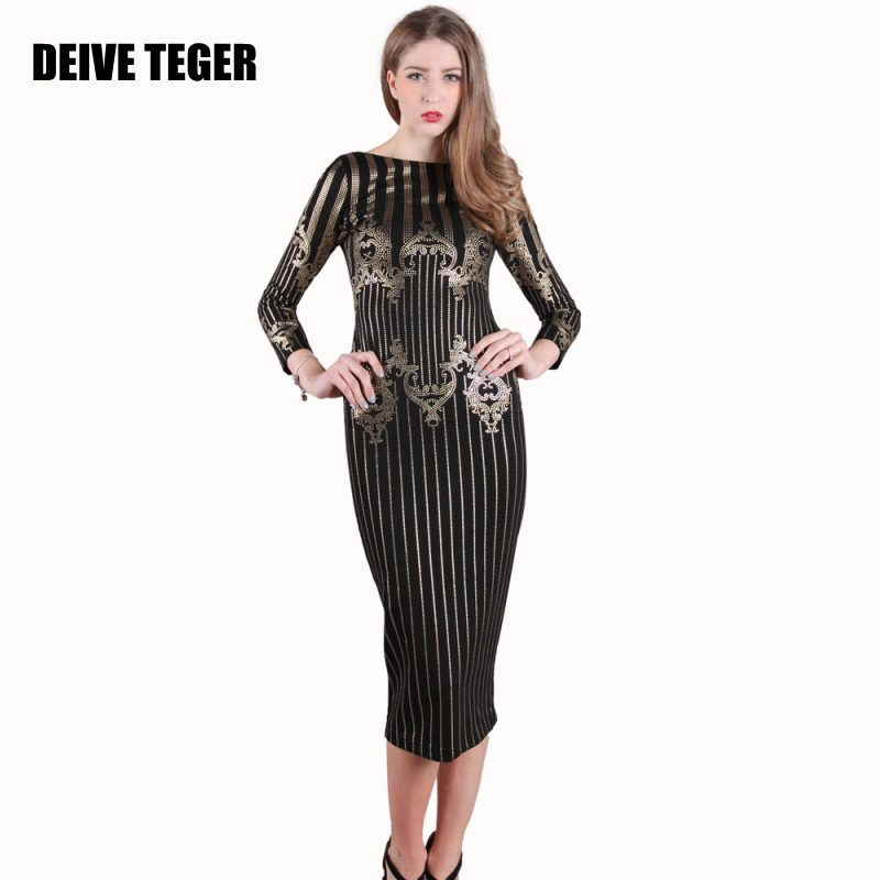 DEIVE TEGER woman newest sexy 2017 winter Gilding O-Neck Spandex Elastic Sheath  BACKLESS Women long sleeve Dress BY071