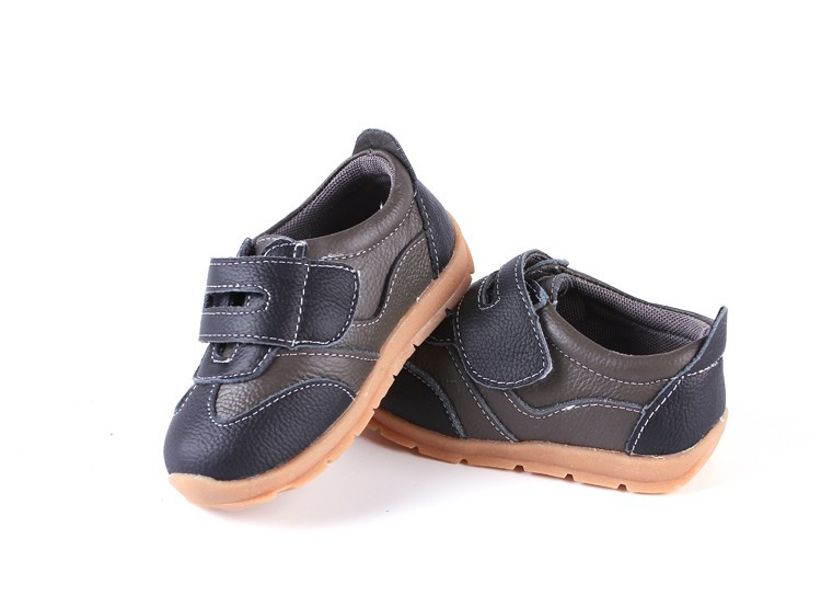 SandQ baby Boys sneakers soccers shoes girls sneakers Children leather shoes pink red black navy genuine leather flexible sole 29