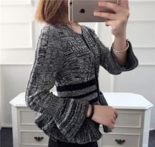 high quality women's 100% wool striped sweater autumn fashion knitted short style cute flare sleeve grey cardigan jumper sweater