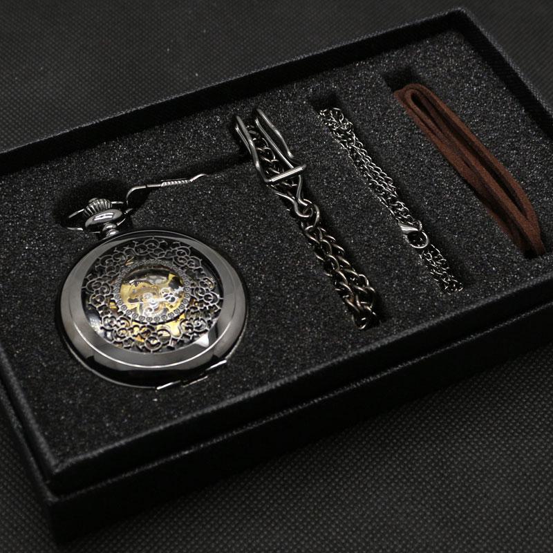 New Fashion Gift Set Classic Black Luxury Half Hunter Vintage Skeleton Mechanical Pendant Necklace Pocket Watch Fob Watch