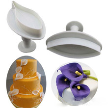 Decorating Tool Lily Shape Cookie Pastry Cake Plunger Cutter Sugarcraft Christmas Tools 2Pcs/Set