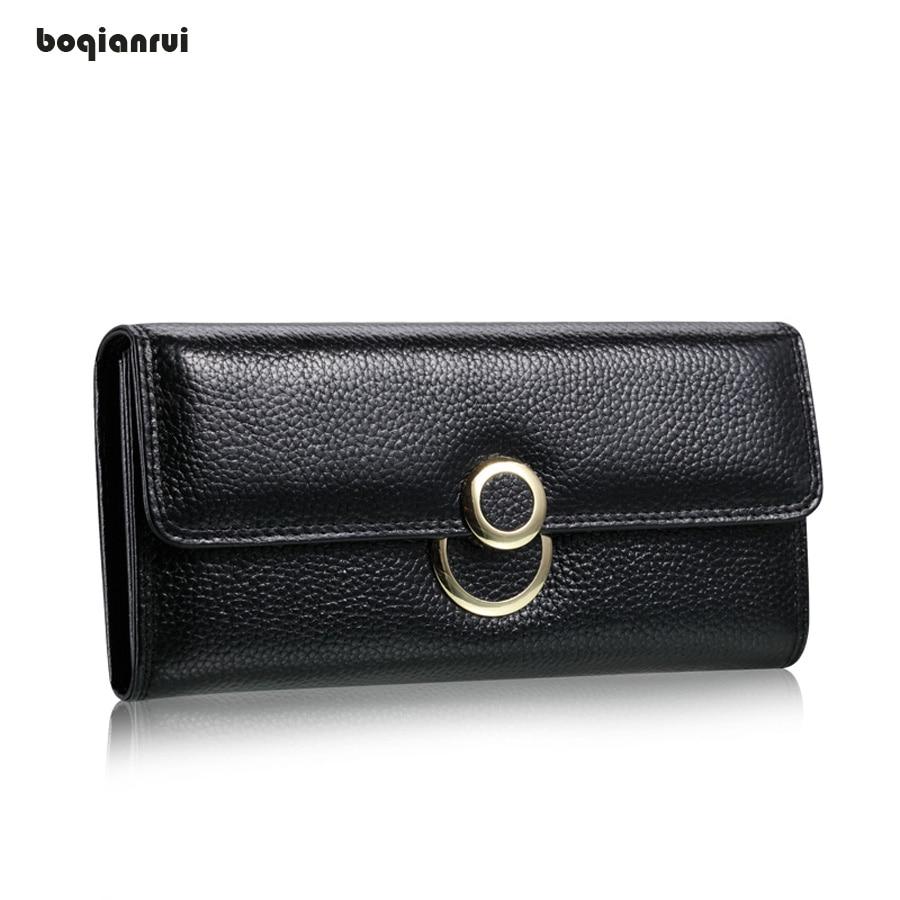 Genuine Leather Women Wallet Solid Hasp Clutch Purse Lady Party Wallet Female Card Holder Long Standard Wallets