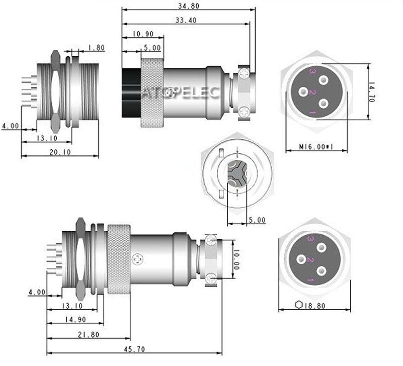 Electrical Equipment & Supplies 4 Positions GX12 Aviation Circular ...