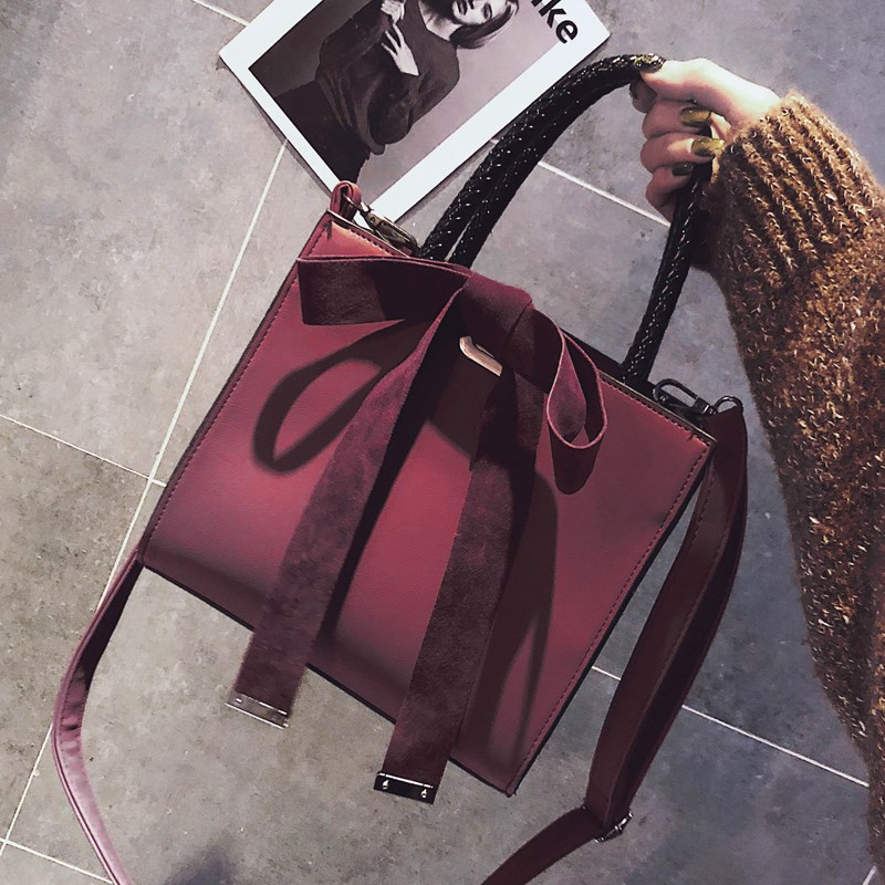 Burgundy Flap Messenger Bags For Women Suede With Bow Daily Handbags Festival Gift England Style Totes Solid Business Bolso