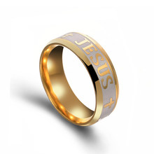 High Quality Large Size 6mm ring Titanium Steel Gold-Color Jesus Cross Letter Bible Wedding Band Ring Men Women(China)