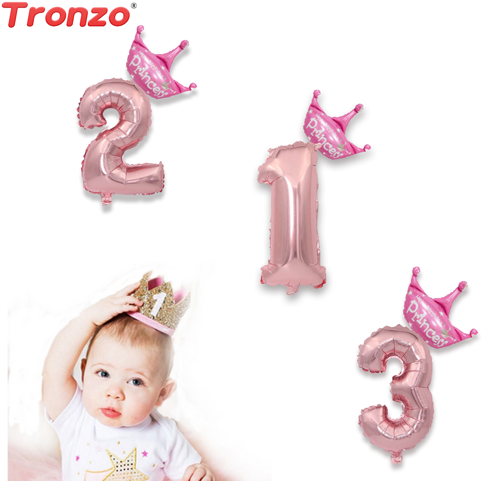 Tronzo Party Supplie Number Balloons 16/32inch Foil Wedding Balloons Birthday Party Decorations Kids For Baby Shower Girl Boy