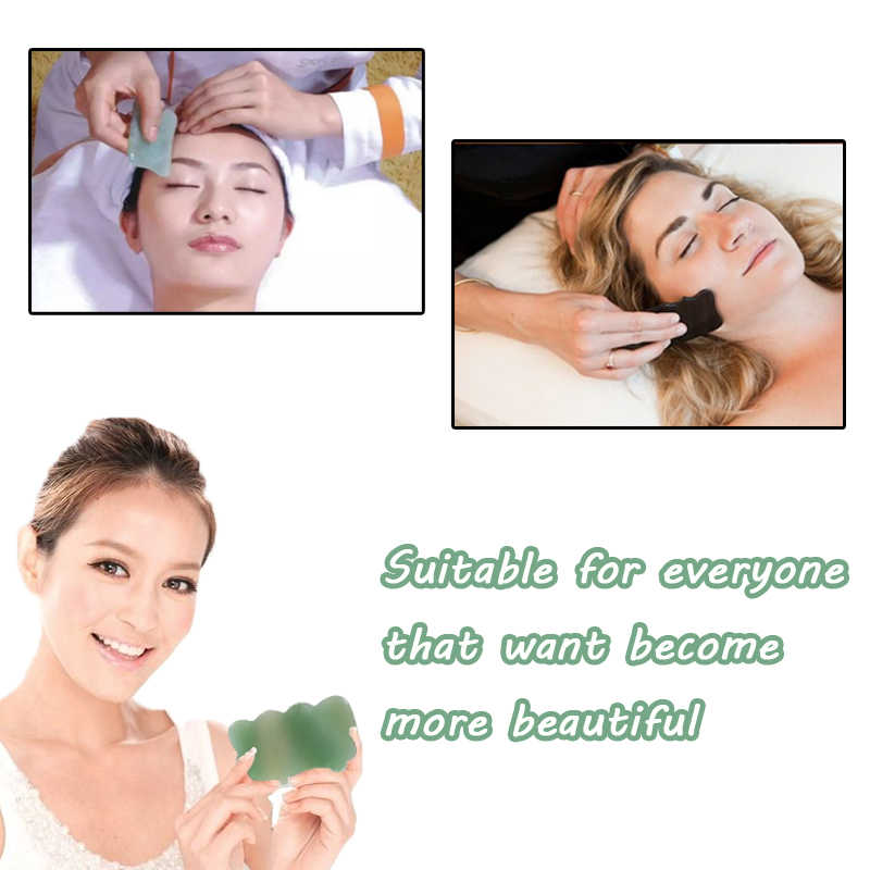 Natural Aventurine Stone Face Gua Sha Tool Massage SPA Green Acupuncture  Scraping Healing For Body Neck Eye Health Care
