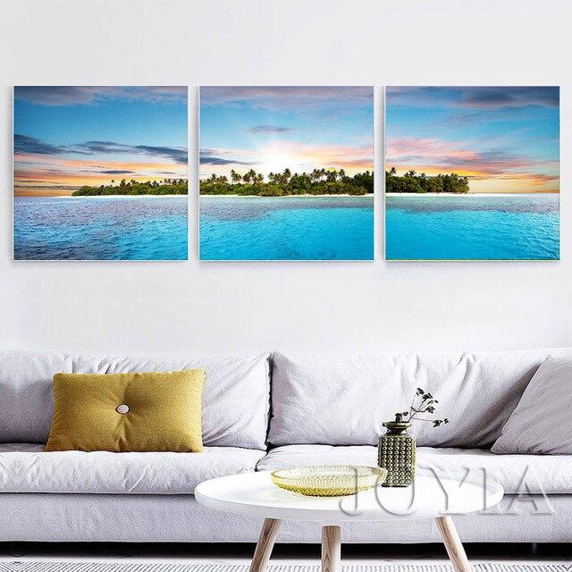 Seascape Wall Art Tropical Island Ocean Canvas Print Triptych Modern Paintings For Home Living Decor