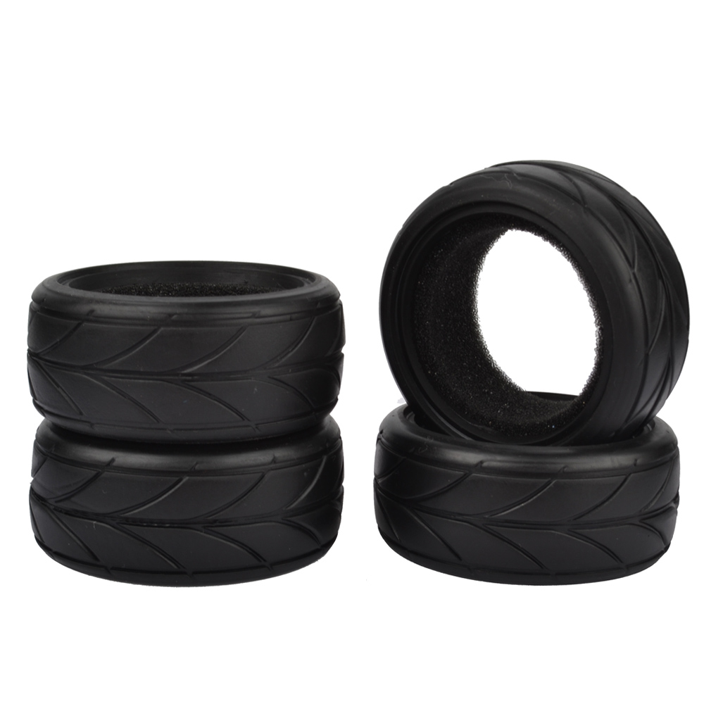 4pcs/set 1/10 Soft On-road Car Tire With Sponge Liner for 1:10 Traxxas HSP Tamiya HPI RC On Road Drift Model Car wheels 4pcs aluminum alloy 52 26mm tire hub wheel rim for 1 10 rc on road run flat car hsp hpi traxxas tamiya kyosho 1 10 spare parts