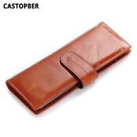 2015 Oil Wax Leather Card Holder Korean Style Genuine Leather Women Card Holders Long Style Men
