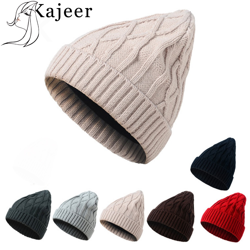 Kajeer Winter Ladies Knit Thick Warm Hat Fashion Solid Color Cashmere Ladies Women Skullies Beanies Super Warm Fleece Mask Cap