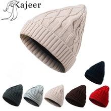 ef32d56048c Kajeer Winter Ladies Knit Thick Warm Hat Fashion Solid Color Cashmere  Ladies Women Skullies Beanies Super