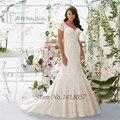 Luxo Plus Size Vestido de noiva manga curta Lace vestidos de noiva sereia vestidos de Casamento V voltar Vestido de Casamento 2016 Custom