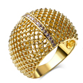 DC1989 Trendy jewelry Full Macrame 2 Plated colors choose 1 line White Cubic Zirconia Copper Rings for women bague femme SJ23337