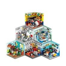 Mini escena de la calle 3d modelo arquitectura tienda venta al por menor en miniatura bloque construcción juguete