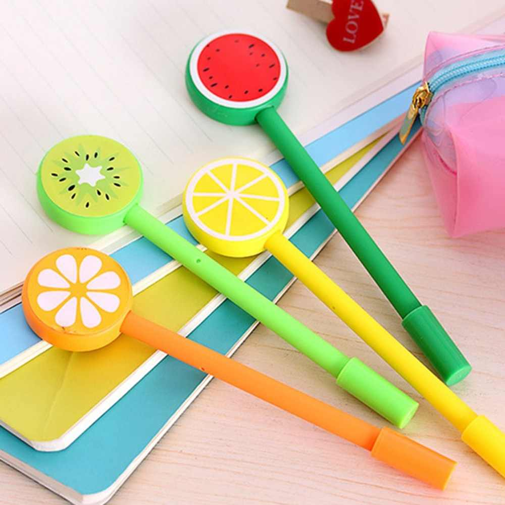 Compact Size Cute Fruit Lollipop Gel Pens Kawaii Student Stationery Pen Office Supplies School Writing Signature Plastic Pens