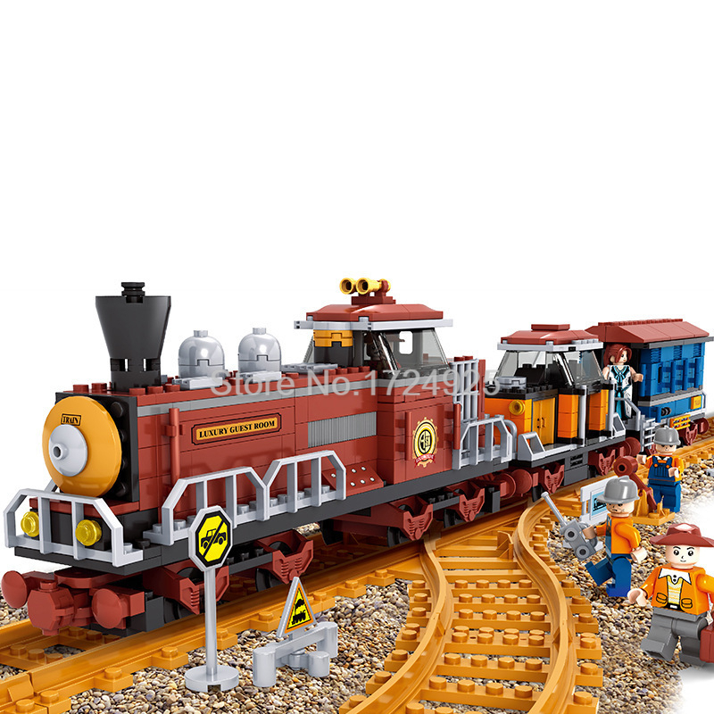 Classic Steam Train with Tracks 662pcs Building Blocks Railroad Set Model Bricks Kids Toys for children Christmas Gift