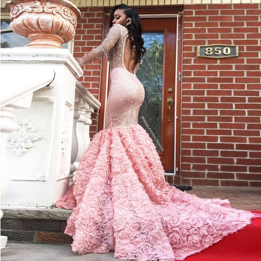 Luxury African Prom Dresses for Black Girl Pink Lace Crystal ...