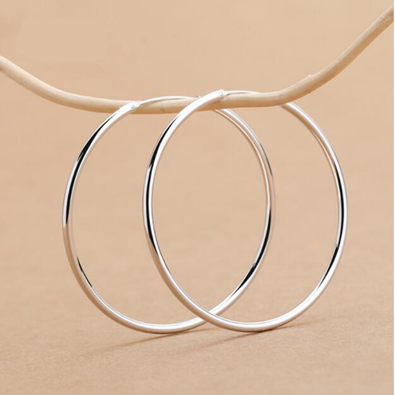 Large Size silver plated Big Hoop Earrings For Women Simple Round Circle Earrings Hoops Ear Rings Earings Jewelry(China)