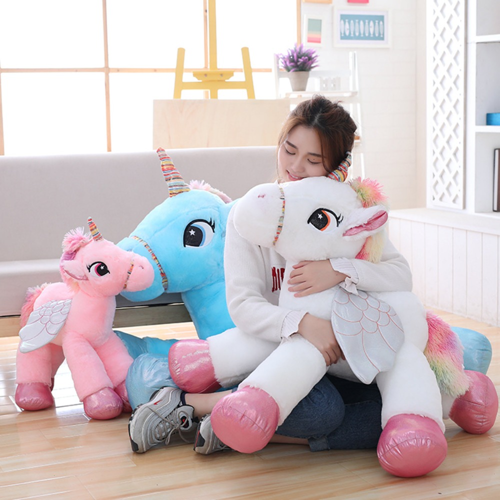 1pc 50/60/90cm Kawaii Unicorn Plush Toys Giant Stuffed Animal Horse Toys for Children Soft Doll Home Decor Lover Birthday Gift northern europe style double 3d printing ins doll plush sofa stuffed animal child toys birthday xams gift dash pillow cushion