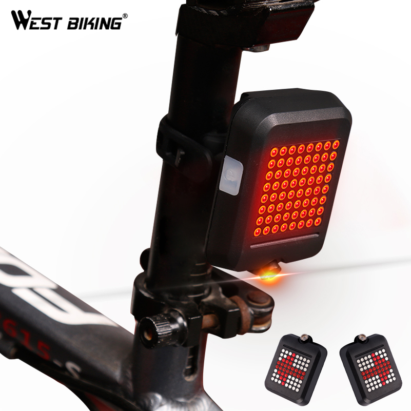 WEST BIKING 64 LED Laser Bicycle Rear Taillight Waterproof USB Rechargeable MTB Bike Automatic Turn Signals Safety Warning Light west biking taillight rechargeable 7 models smart usb waterproof ce rhos fcc msds certification cycling bike bicycle tail light