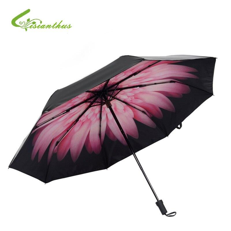 Nové 1PCS Tisk Květiny Přenosné skládací deštníky Obojživelný UV deštník Dážď Dámské / Muži Mini Rain / Sun Dětský květinový deštník