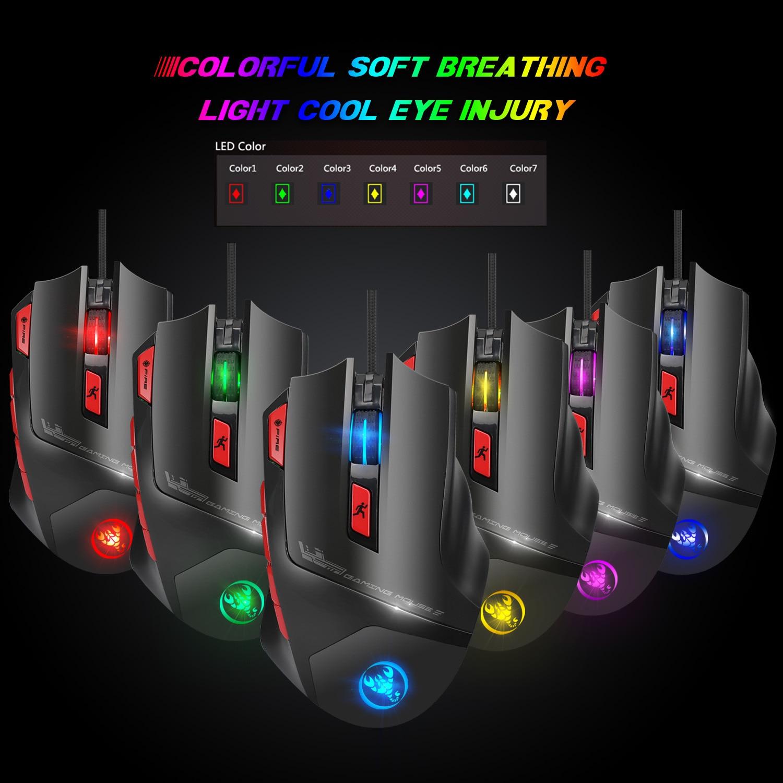Hongsund Programmable Gaming Mouse 9 key illuminable mouse up to 6000 dpi RGB Backlit USB Wired Optical Gamer 33