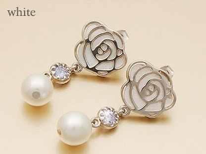 Moda Vendita Calda di Nuovo Arrivo Della Lega Rosa Bianca Simulato Perla orecchini di Goccia Ciondola L'orecchino E253