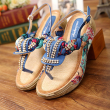 2016 New Sandals Bohemian Rhinestone Fashion Flat Shoes Woman Large Size Casual Shoes Summers Shoes wedges platform sandals s361