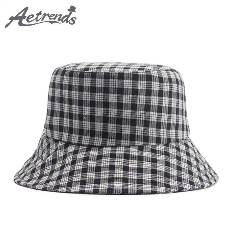 e5af6c5f863  AETRENDS  2018 New Summer Cotton Plaid Wide Brim Bucket Hats for Women Men  Outdoor