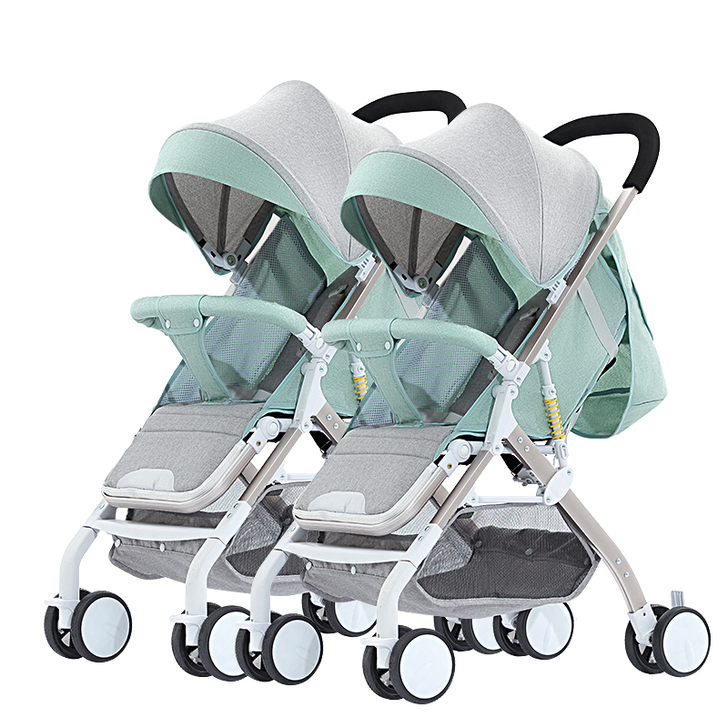Twin baby strollers lightweight folding reclining can sit high double seat strong shock easily portable baby travel supplies