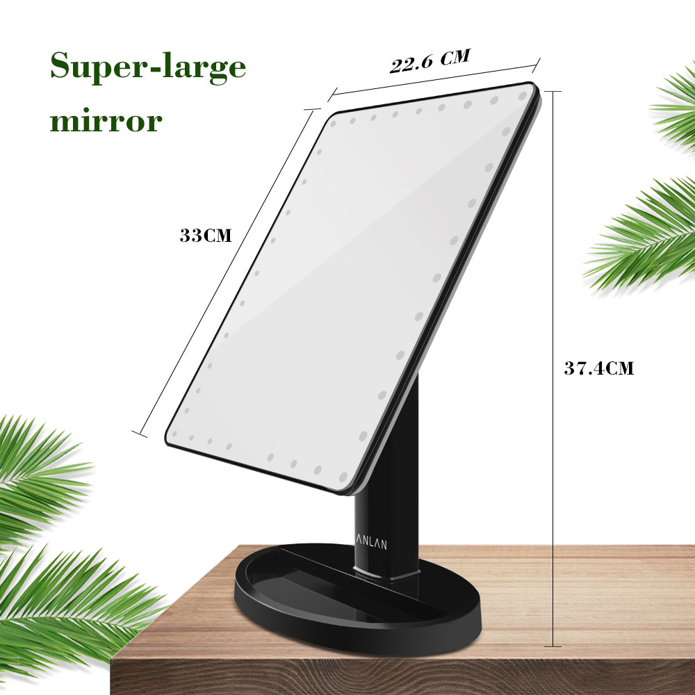 ANLAN Super Large LED Touch Screen Makeup Mirror Mirror With 35 LED Lights/Light Bar 360 Degree Adjustable Table Make Up Mirror