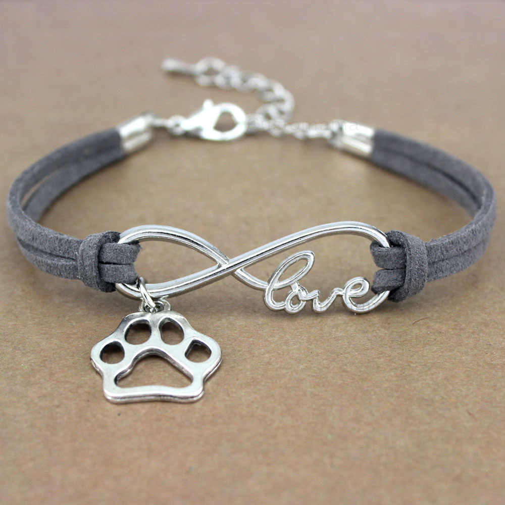 Dog Paws Best Friends Heart Unicorn Animal Infinity Love Charm Bracelets Silver Jewelry Women Men Girl Boy Unisex Gift 20 Colors