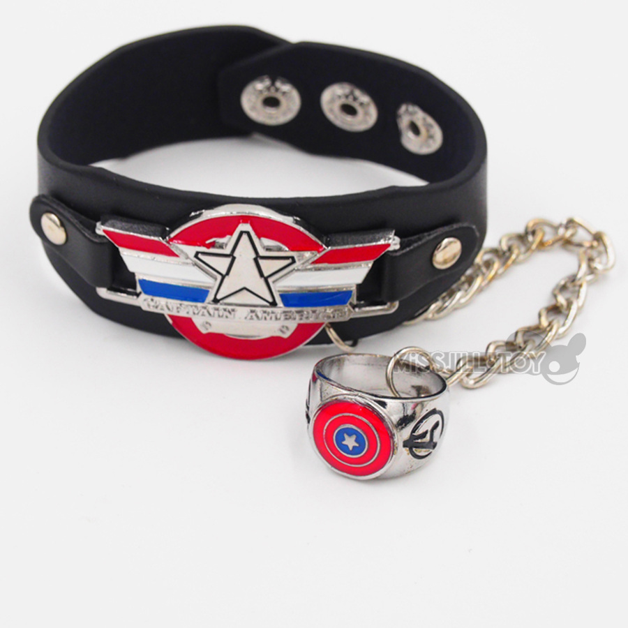 Fashion Jewelry Leather Bracelets Bangles Cool Rock Punk Captain America  Logo For Women Men Good Present