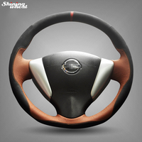 Hand Stitched Black Suede Brown Leather Steering Wheel Cover For Nissan Tiida Sylphy Sentra 2014 Note