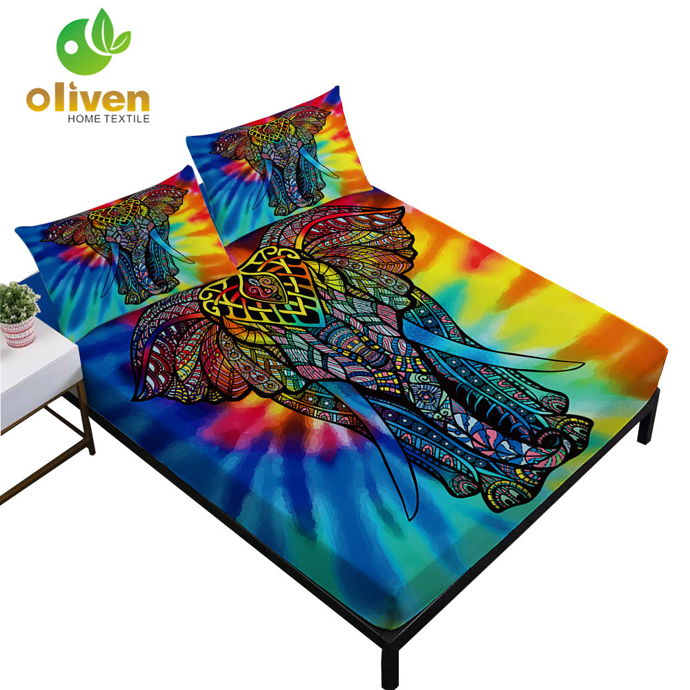 Tie Dyeing Elephant Sheet Set Colorful Mandala Print Fitted Bed Linens Deep Pocket Bedding Pillowcase D45