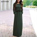 EIFFTER Women Long Dress 2016 New Casual Autumn O-neck Long Sleeve Sashes Solid Maxi Dress Vestidos 0068