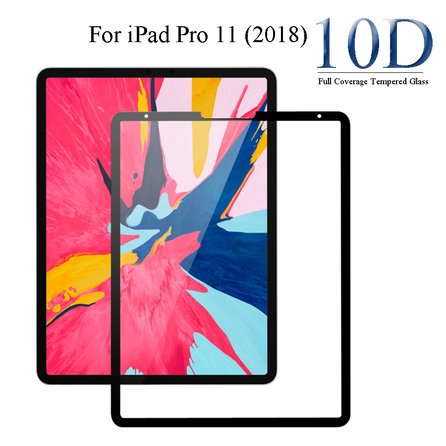 Glass Protector For Ipad Pro 11, 10D Full Cover Black Glass Films For IPad Pro  11 2018 Screen Protector