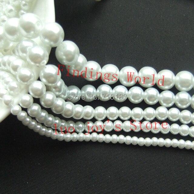 Perle en verre blanche 3-16mm, perles rondes en Imitation, ample, pour la fabrication de bijoux, bricolage artisanal (W03872)