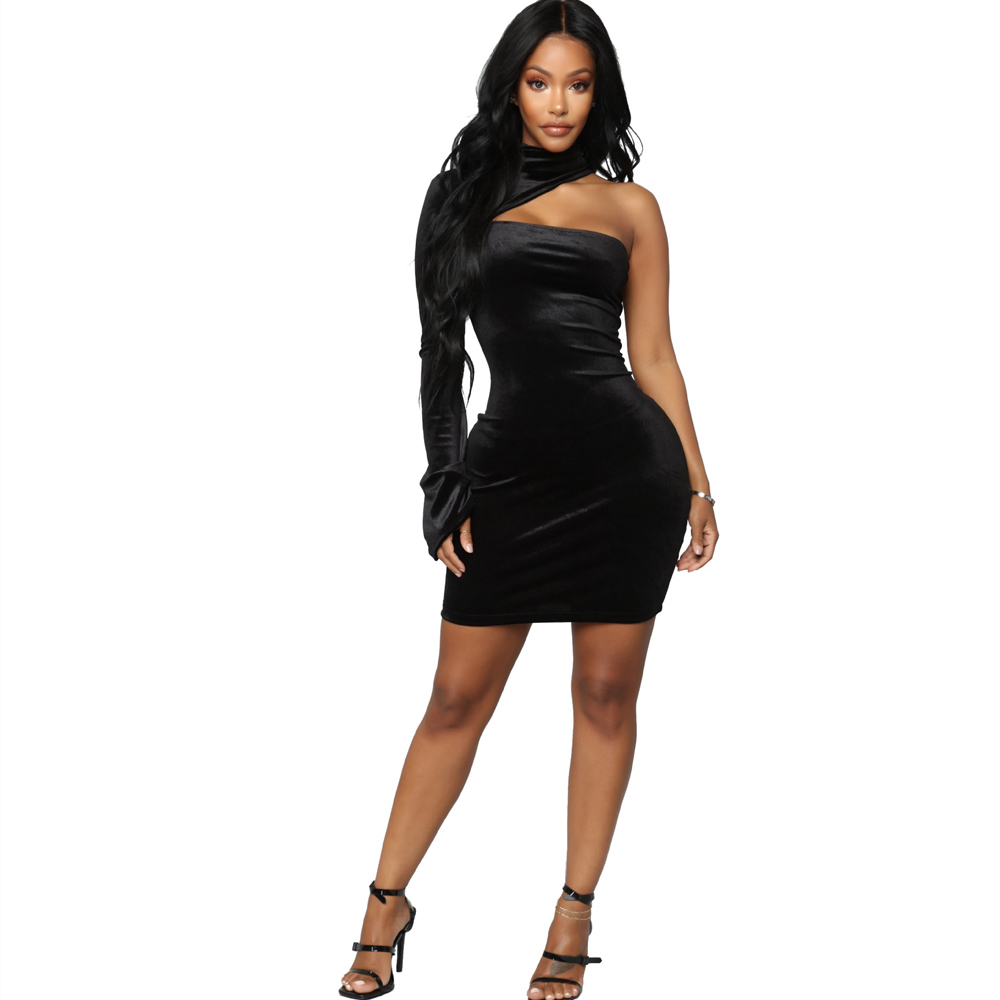 2019 spring new women 39 s dress velvet sexy fashion one shoulder dress in Dresses from Women 39 s Clothing