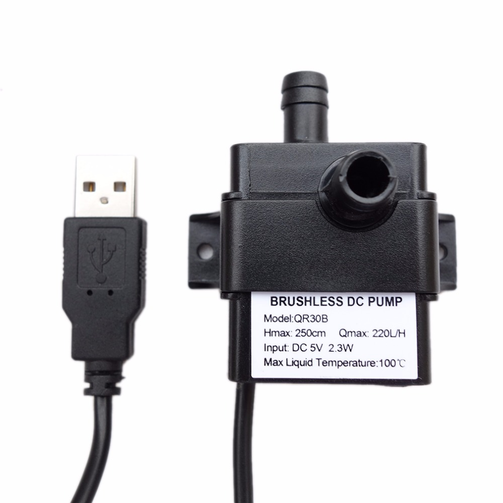 Professional Low Noise QR30B DC 5V 2.3W 220L/H Flow Rate Waterproof IP68 CPU Cooling Car Brushless Water Pump Hot Sale